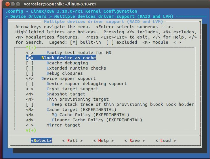 Configuración de make menuconfig para incluir soporte de bcache y, ya que estamos, de dm-cache