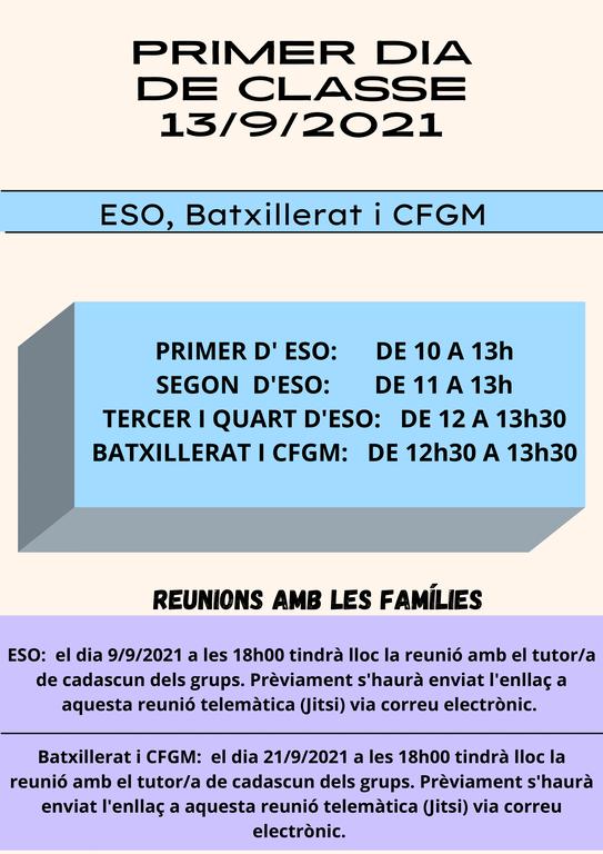 Curs 21/22 - Inici Classes ESO, BTX i CFGM