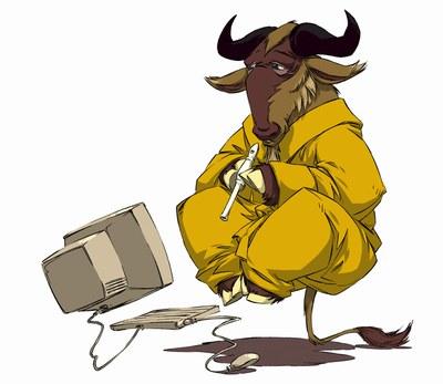 http://commons.wikimedia.org/wiki/GNU?uselang=es#mediaviewer/File:Gnu_meditate_levitate.jpg