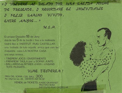 Invitació per assistir a la celebració del 15è aniversari de l'Institut Puig Castellar