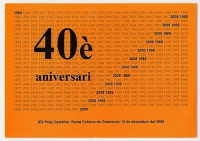 Invitació per assistir al 40è aniversari de l'Institut Puig Castellar
