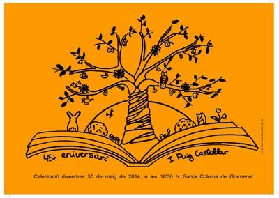 Postal de la convocatòria del 45è aniversari de l'Institut Puig Castellar