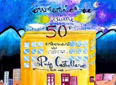 Postal de record del cinquantenari de l'Institut Puig Castellar