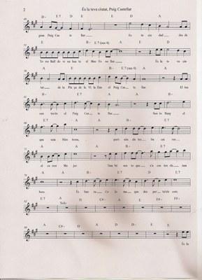 Partitura de la cançó de Xavi Cano