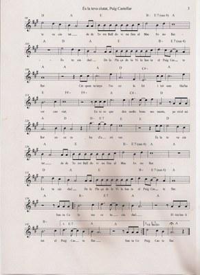 Partitura de la cançó de Xavi Cano com a homenatge al cinquantenari del Puig Castellar