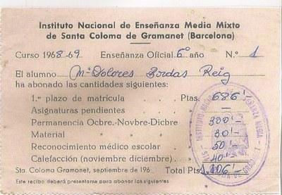 La primera matrícula a l'Institut Santa Coloma (Institut Puig Castellar)
