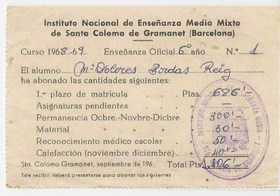 Primera matrícula a l'Institut Puig Castellar (1968)