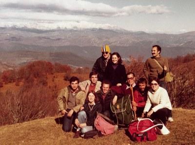 Grup de professors a una excursió al Puigsacalm (novembre de 1979)