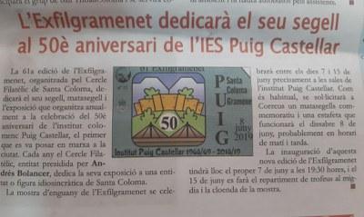 El Cercle Filatèlic dedica un segell al 50è aniversari del Puig Castellar