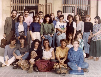 El grupo de COU 4 (curso 1991-1992) con algunos profesores